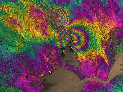 Interferogram Of Napa Valley Earthquake Art Print by Science Source