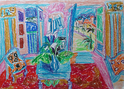 Abstract Expressionism Drawing - Interior A La Nice by Esther Newman-Cohen