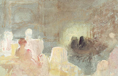 Joseph Mallord William Turner Painting - Interior At Petworth With A Seated Woman by Joseph Mallord William Turner