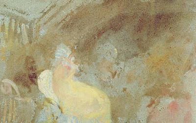 Gouache Abstract Painting - Interior At Petworth With Seated Figure by Joseph Mallord William Turner