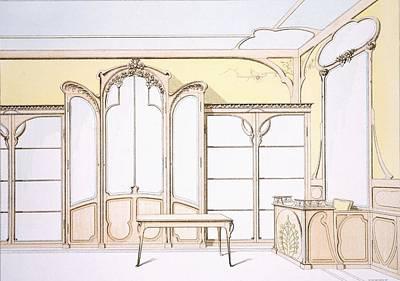 Art Nouveau Drawing - Interior Design For A Fashion Shop by F. Barabas