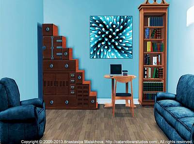 Room Digital Art - Interior Design Idea - Blue Sea Anemone by Anastasiya Malakhova