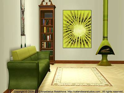 Digital Art - Interior Design Idea - Kiwi by Anastasiya Malakhova