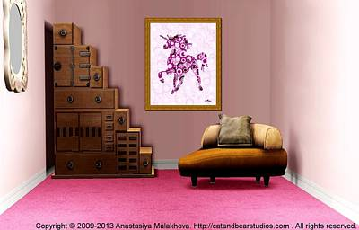 Digital Art - Interior Design Idea - Pink Unicorn - Animal Art by Anastasiya Malakhova