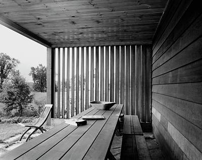 Deck Chair Photograph - Interior End Of Porch With Vertical Louvers by P.A. Dearborn