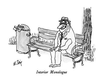 Park Benches Drawing - Interior Monologue by William Steig