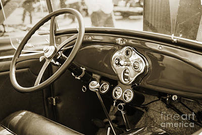 Photograph - Interior Of A 1929 Ford Classic Automobile Car In Sepia  3057.01 by M K Miller