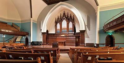 Interior Of A Church And Organ Pipes Art Print by Panoramic Images