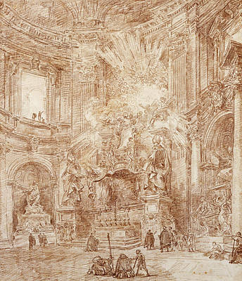 Pastel Drawing Drawing - Interior Of A Church  by Hubert Robert