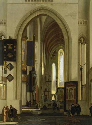 Nave Photograph - Interior Of A Church With Figures, 1685 Oil On Panel by Emanuel de Witte