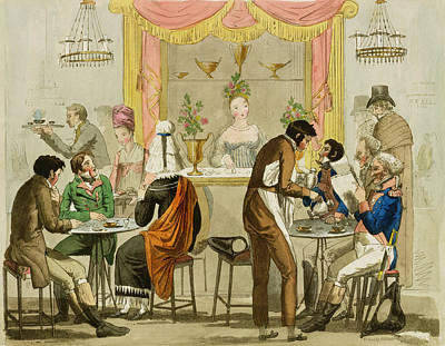 Waitresses Painting - Interior Of A Coffee House, Pub by English School