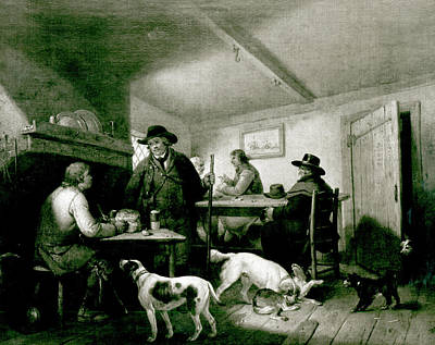 Talking Friends Drawing - Interior Of A Country Inn by George Morland