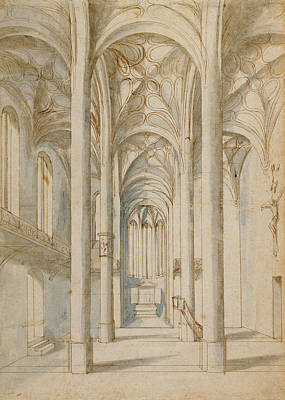 Wash Drawing - Interior Of A Gothic Church Paul Juvenal The Elder by Litz Collection
