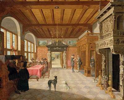Caryatids Painting - Interior Of A Hall With Figures, 1621 by Nicolaes de Gyselaer
