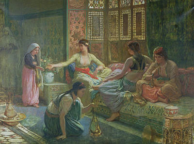 Concubine. Harem Girl Painting - Interior Of A Harem by Leon-Auguste-Adolphe Belly