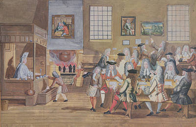 Interior Of A London Coffee House, C.1650-1750 Wc On Paper Print by English School