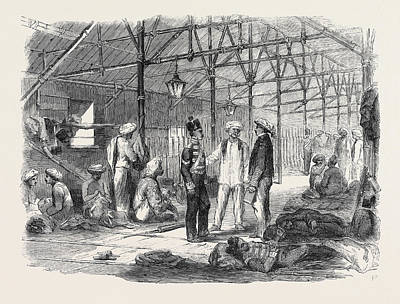 Hong Kong Drawing - Interior Of A Mat Shed In Hong Kong by English School