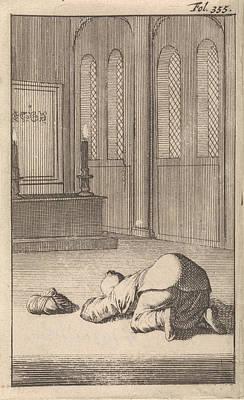 Prayer Drawing - Interior Of A Mosque With A Figure Kneeling In Prayer by Caspar Luyken And Timotheus Ten Hoorn