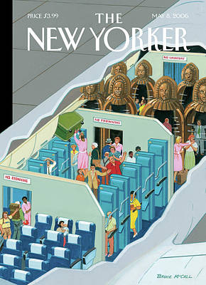 Torture Wall Art - Painting - Interior Of A Passenger Plane. First Section by Bruce McCall