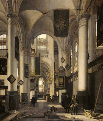 Old Church Painting - Interior Of A Protestant Church With Gothic Motifs Of The Old And The New Church In Amsterdam by Emanuel de Witte