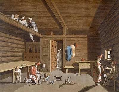 Chicken Drawing - Interior Of A Russian Peasant Home by Italian School
