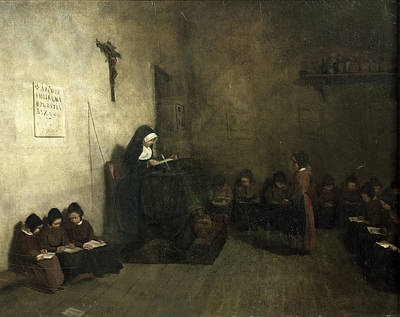 Discipline Wall Art - Photograph - Interior Of A School For Orphaned Girls, 1850 Oil On Canvas by Francois Bonvin