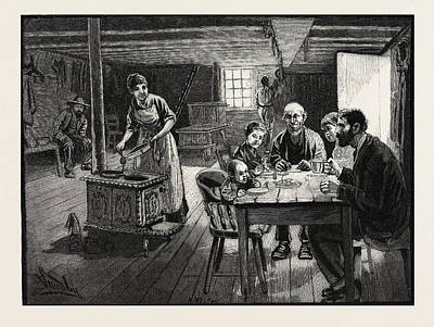 Interior Of A Settlers Cabin, Canada Art Print by Canadian School