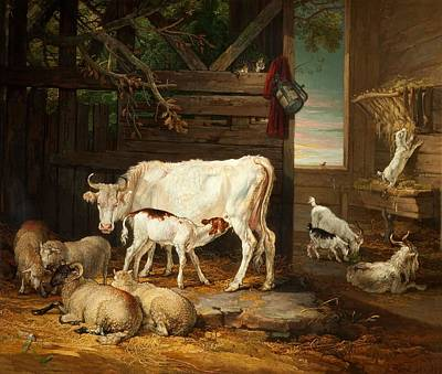 Goat Painting - Interior Of A Stable, 1810 by James Ward