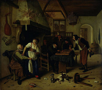 Backgammon Drawing - Interior Of An Inn With An Old Man Amusing Himself by Litz Collection