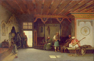 Orientalists Photograph - Interior Of An Oriental Cafe Oil On Panel by Charles Theodore Frere