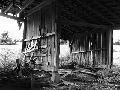 Julie Dant Black And White Photograph - Interior Of Barn In Plainville Indiana by Julie Dant