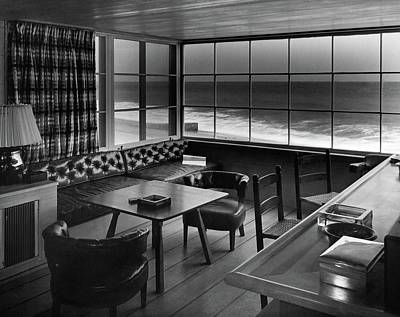 Black And White Photograph - Interior Of Beach House Owned By Anatole Litvak by Fred R. Dapprich
