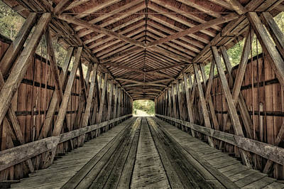 Interior Of Covered Bridge, Indiana, Usa Art Print by Rona Schwarz