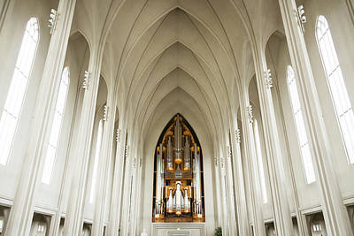 Interior Of Hallgrimskirkja Church Art Print by Mel Longhurst