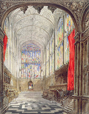 Interior Of Kings College Chapel, 1843 Art Print by Joseph Murray Ince
