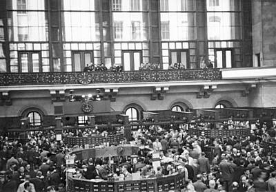 Interior Of Ny Stock Exchange Art Print by Underwood Archives