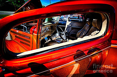 Photograph - Interior Of Red Vintage Car  by Danny Hooks
