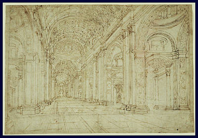 Basilica Drawing - Interior Of Saint Peters Basilica Unknown 17th Century by Litz Collection