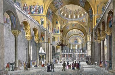 Mosaic Drawing - Interior Of San Marco Basilica, Looking by Italian School
