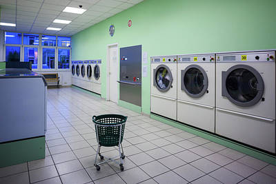 Self Photograph - Interior Of Self-service Laundry by Panoramic Images