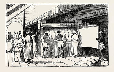 Bales Drawing - Interior Of Shuna The Hydraulic Press, Banding The Bales by Egyptian School
