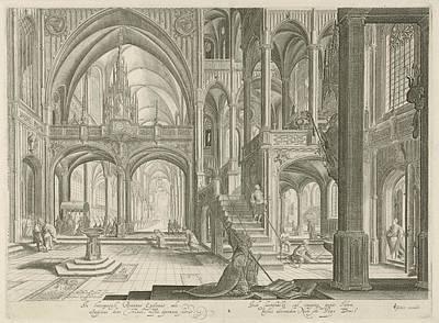 Interior Of St. John Lateran In Rome, Jan Van Londerseel Art Print by Jan Van Londerseel And Claes Jansz. Visscher (ii)