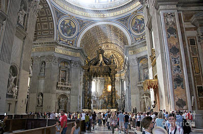 Indoor Photograph - Interior Of St Peter's Dome. Vatican City. Rome. Lazio. Italy. Europe by Bernard Jaubert