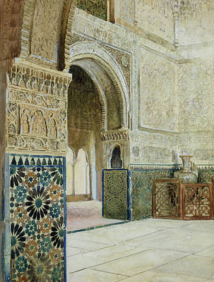 Vase Drawing - Interior Of The Alhambra  by French School