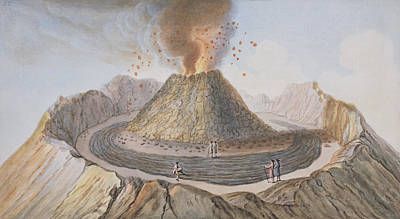 Sicily Drawing - Interior Of The Cone Of Vesuvius Before by Pietro Fabris