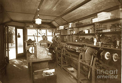 Photograph - Interior Of The Elialle Shoe Repair Shop Circa 1920 by California Views Archives Mr Pat Hathaway Archives