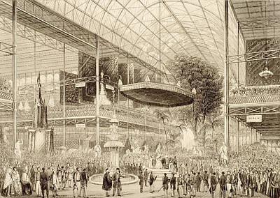 Crystals Drawing - Interior Of The Great Exhibition, Grand by English School