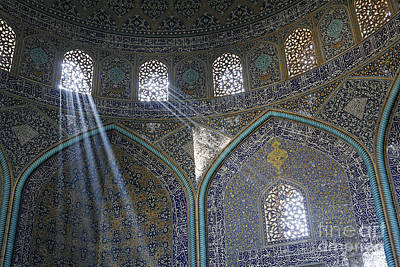 Allah Photograph - Interior Of The Lotfallah Mosque At Isfahan In Iran by Robert Preston