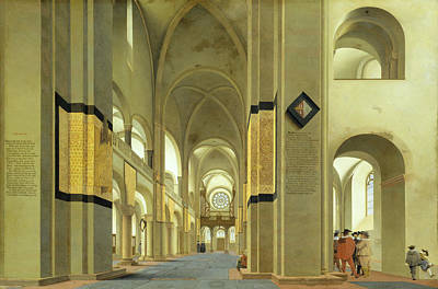 Interior Of The Marienkirche In Utrecht, 1638 Oil On Panel Art Print by Pieter Jansz Saenredam