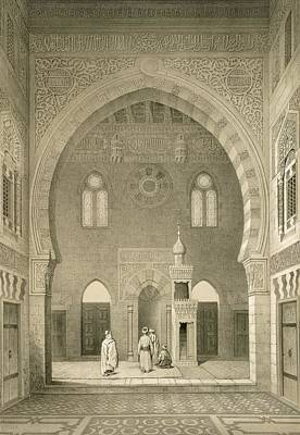 Islam Drawing - Interior Of The Mosque Of Qaitbay, Cairo by French School